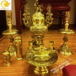 Bộ đồ thờ cúng đồng vàng dapha sáng bóng 20 năm